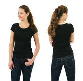 Happy woman wearing blank black shirt. Young beautiful brunette female with blank black shirt, front and back. Ready for your design or artwork Stock Image