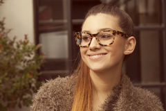Happy woman wearing glasses Royalty Free Stock Photo