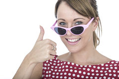 Happy Woman Wearing Pink Sun Glasses Giving Thumbs Up Royalty Free Stock Image
