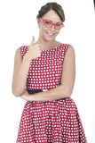 Happy Woman Wearing Red Framed Glasses with Thumb Up Royalty Free Stock Image