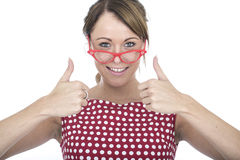 Happy Woman Wearing Red Framed Glasses with Thumbs Up Stock Photography