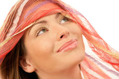 Happy woman wearing red scarf Royalty Free Stock Image