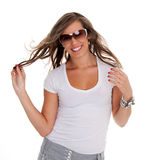 Happy woman wearing shades. Royalty Free Stock Image