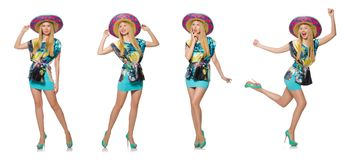 The happy woman wearing sombrero hat on white Royalty Free Stock Photo