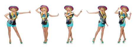 The happy woman wearing sombrero hat on white Stock Images