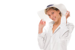 Happy woman wearing a sun hat. Happy laughing woman wearing a sun hat on white background Royalty Free Stock Images