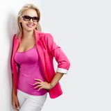 Happy woman wearing sunglasses Royalty Free Stock Images
