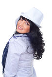 Happy woman wearing white hat royalty free stock photography