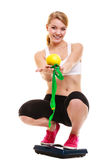 Happy woman weighing scale. Slimming weight loss. Royalty Free Stock Images