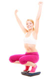 Happy woman weighing scale. Slimming weight loss. Stock Images