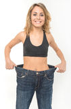 Happy woman after weight loss stock photo