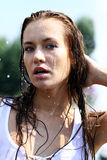 Happy woman wet in the rain Royalty Free Stock Photo