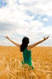 Happy woman in wheat Stock Photography