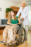 Happy woman in wheelchair Royalty Free Stock Photography