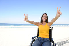 Happy woman in wheelchair outdoors Royalty Free Stock Photography