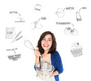Happy woman with whisk and glass bowl thinking of cup cake recip. E. Photo with doodle concept Royalty Free Stock Image