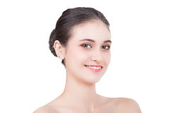 Happy woman. On white background Stock Photos