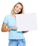 Happy woman with white banner Stock Photos
