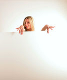 happy woman with white board Stock Photo