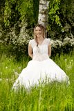 Happy woman in white dress leaning on a birch tree Royalty Free Stock Images