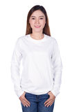 Happy woman in white long sleeve t-shirt isolated on a white Royalty Free Stock Photography