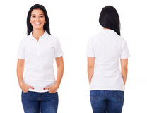 Happy woman in white polo shirt. Young woman in white polo shirt on white background Royalty Free Stock Image