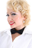 Happy woman in white shirt and black bow-tie Royalty Free Stock Photo