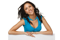 Happy woman with whiteboard Royalty Free Stock Photo