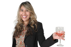 Happy Woman with Wine. Mexican woman isolated on white background. Woman holding a glass of wine in her hand and looking up like she is chatting with someone Stock Image