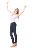 Happy woman winning Royalty Free Stock Photography