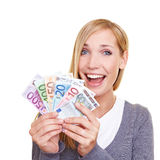 Happy woman winning money Royalty Free Stock Photo