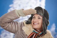Happy woman at winter Royalty Free Stock Photo