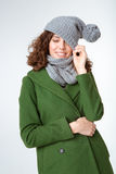 Happy woman in winter cloth and closed eyes Royalty Free Stock Photos