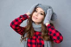 Happy woman in winter cloth looking at camera Royalty Free Stock Photography