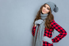 Happy woman in winter cloth Royalty Free Stock Images