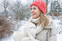 Happy woman in winter clothing outdoors Royalty Free Stock Photography