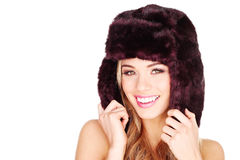 Happy Woman In Winter Fur Hat Stock Photos