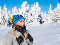 Happy woman on winter holidays Royalty Free Stock Images