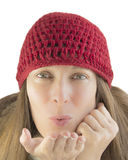 Happy woman in winter. (isolated Royalty Free Stock Photo