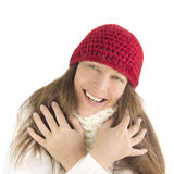Happy woman in winter. (isolated Royalty Free Stock Images