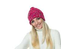 Happy woman in winter outerwear Stock Image