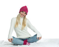 Happy woman in winter outerwear Stock Photos