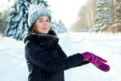 Happy woman in  winter park Stock Photo