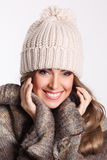 Happy woman at winter Royalty Free Stock Image
