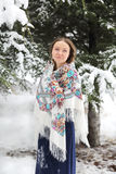 Happy woman in winter with snow. Looking blissful Stock Images