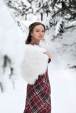 Happy woman in winter with snow Stock Image