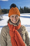 Happy woman in winter time Stock Photos