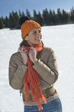 Happy woman in winter time Stock Photography
