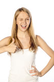 Happy woman wishing you good luck Royalty Free Stock Photo
