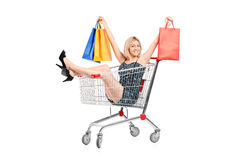 Happy Woman With Bags In A Shopping Cart Stock Photo